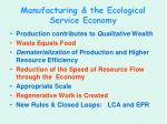 manufacturing the ecological service economy