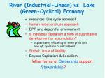 river industrial linear vs lake green cyclical economy