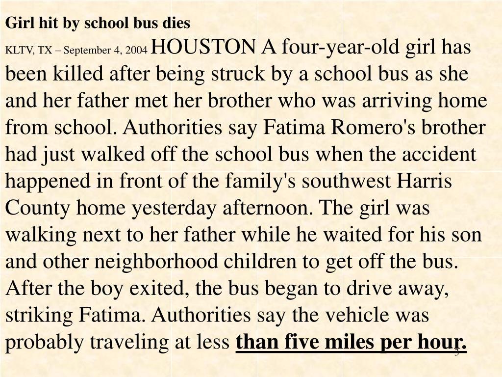 Girl hit by school bus dies