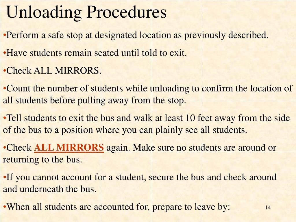 Unloading Procedures