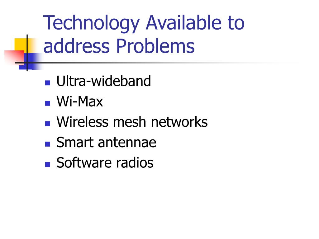 Technology Available to address Problems