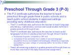 preschool through grade 3 p 3