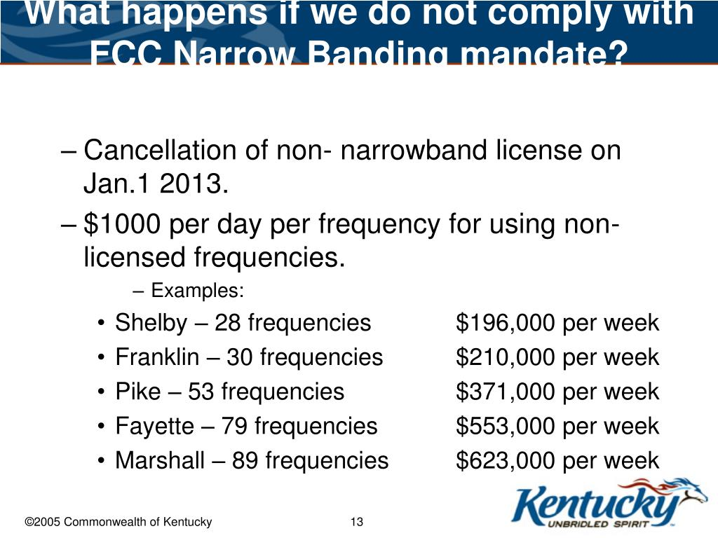 What happens if we do not comply with FCC Narrow Banding mandate?