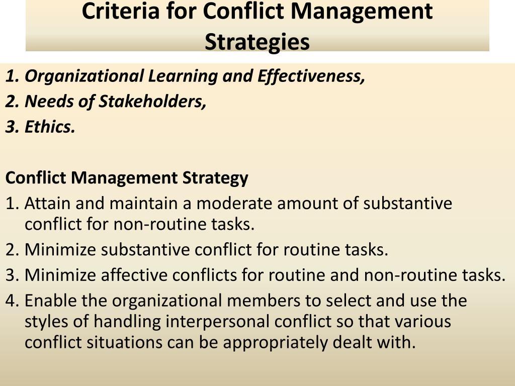 Criteria for Conflict Management Strategies