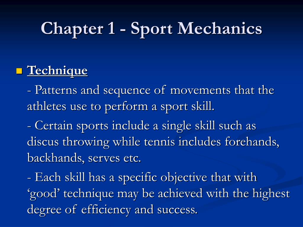 Chapter 1 - Sport Mechanics