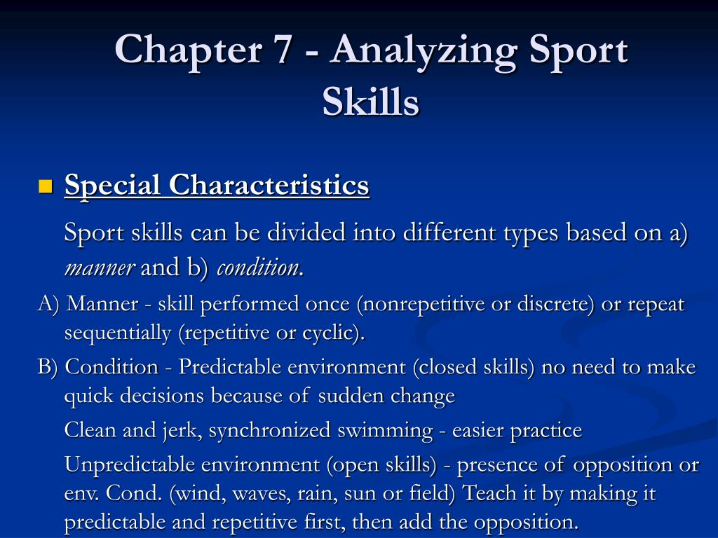 Chapter 7 - Analyzing Sport Skills