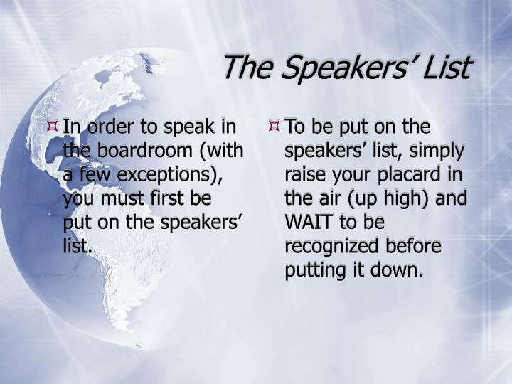 The speakers list