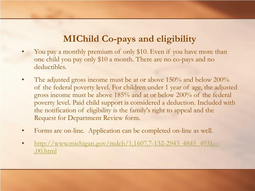 MIChild Co-pays and eligibility