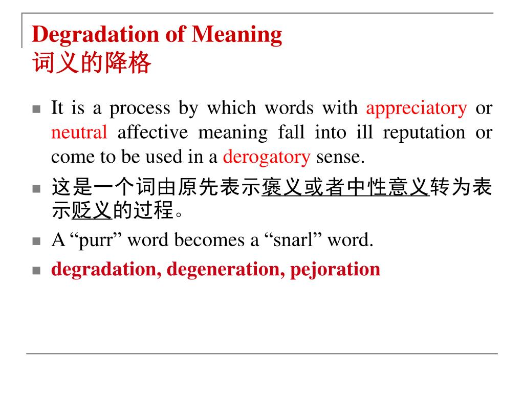 Degradation of Meaning