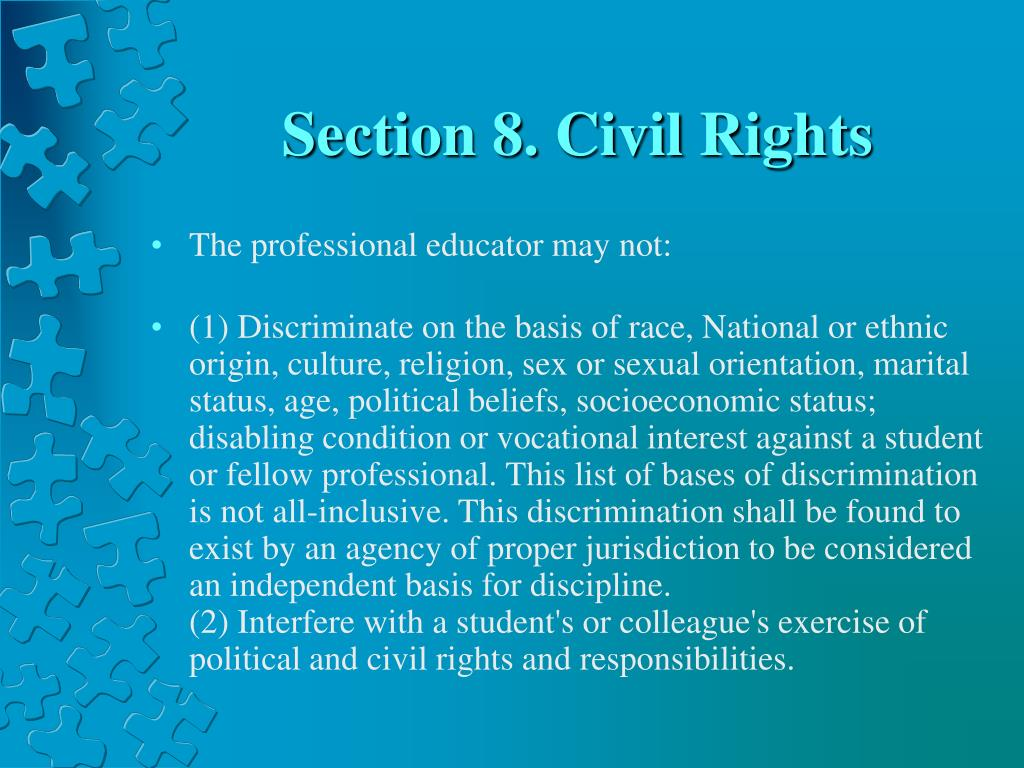 Section 8. Civil Rights