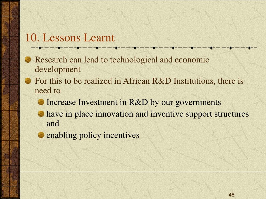 10. Lessons Learnt