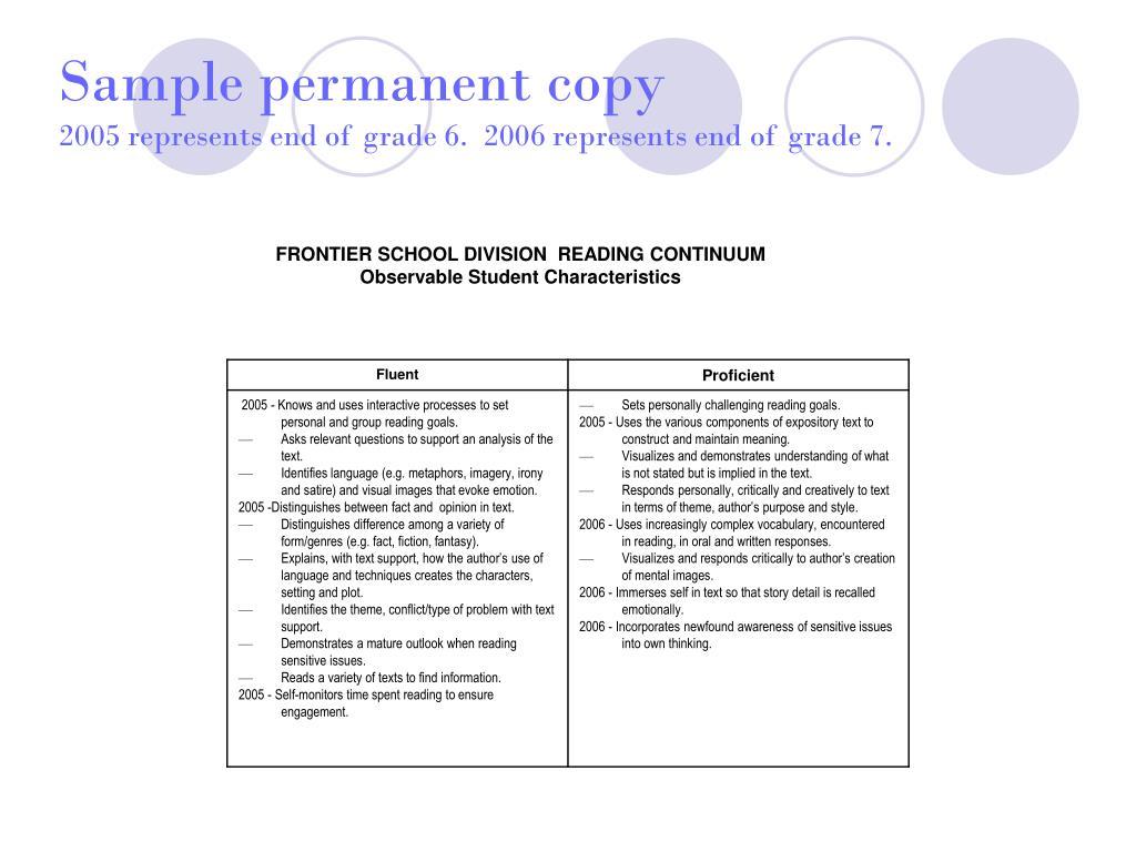 Sample permanent copy