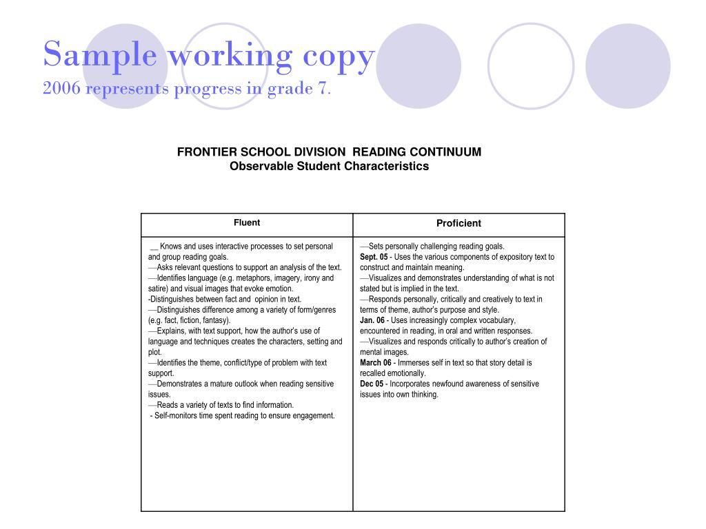 Sample working copy
