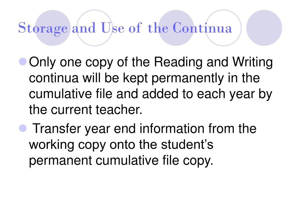 Storage and Use of the Continua