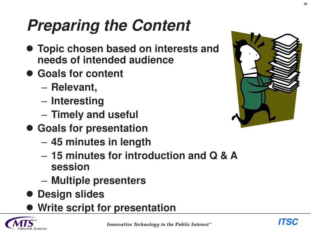 Preparing the Content