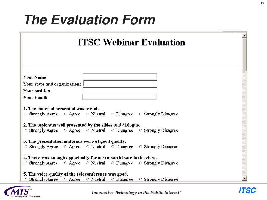 The Evaluation Form