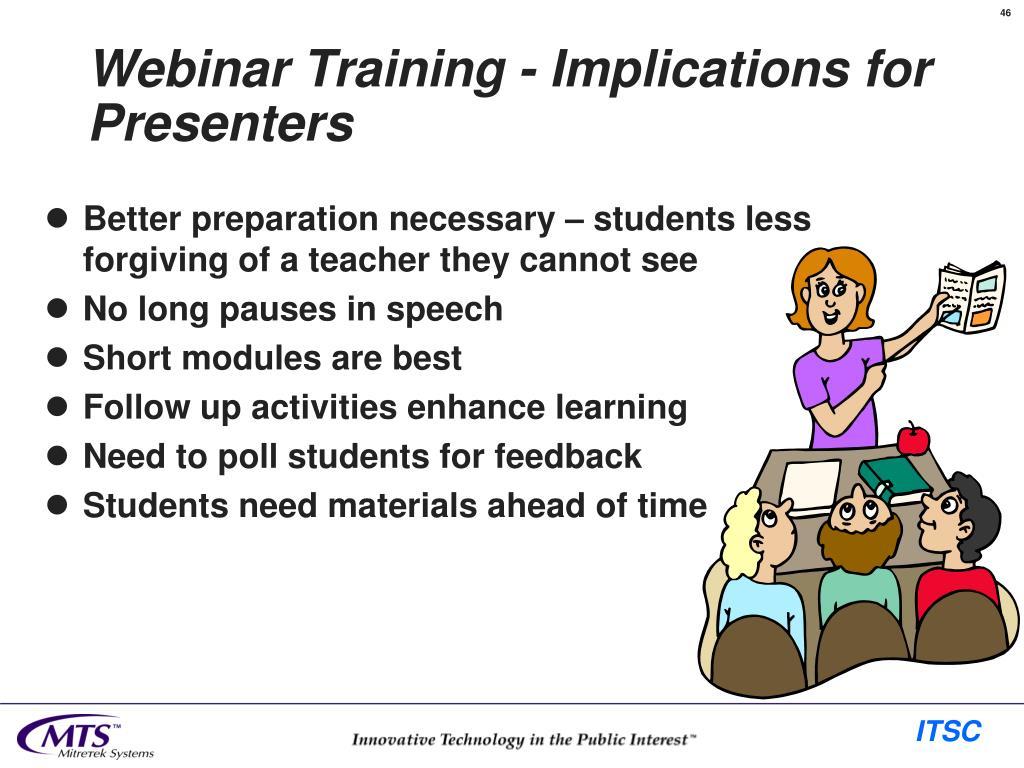 Webinar Training - Implications for Presenters