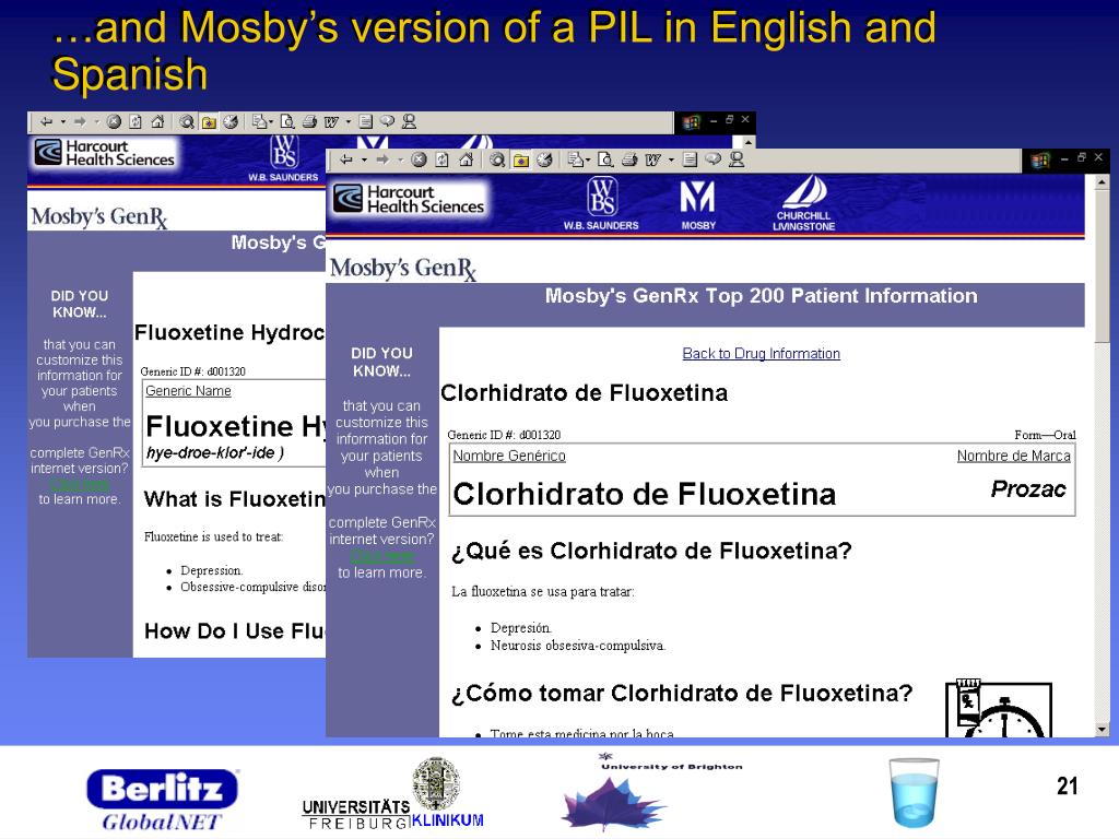 …and Mosby's version of a PIL in English and Spanish