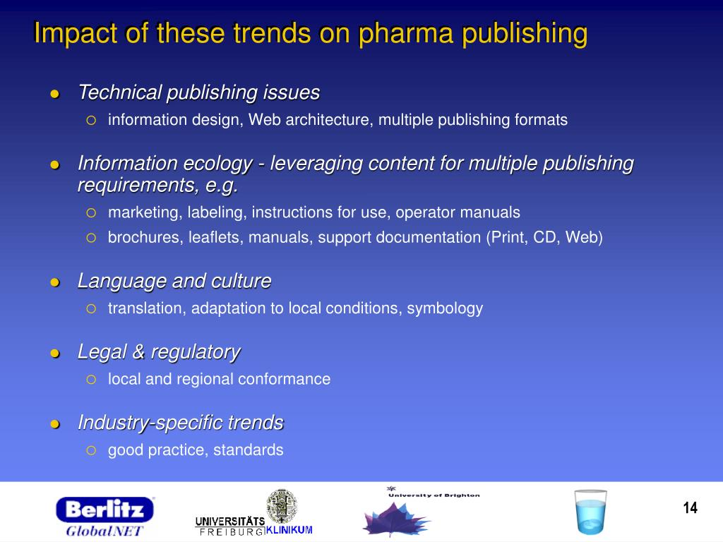 Impact of these trends on pharma publishing