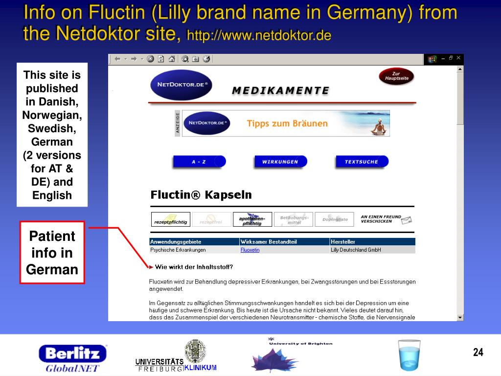 Info on Fluctin (Lilly brand name in Germany) from the Netdoktor site,
