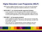higher education loan programme help