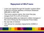 repayment of help loans