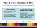 types of higher education providers