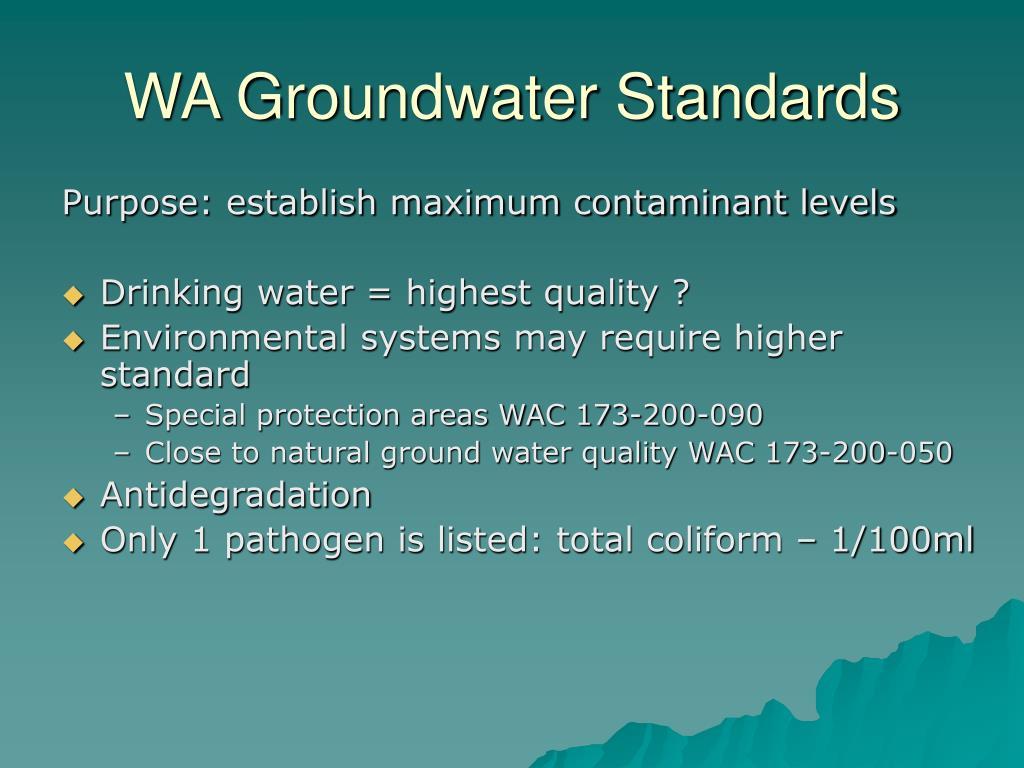 WA Groundwater Standards