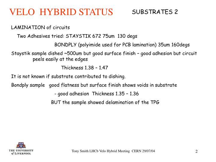VELO  HYBRID STATUS