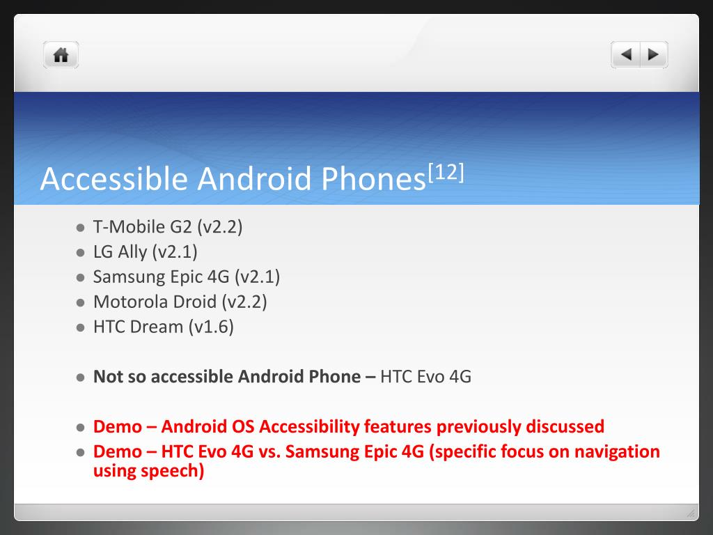 Accessible Android Phones