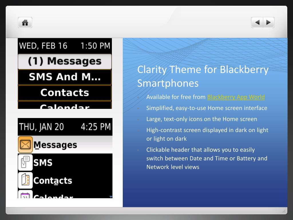 Clarity Theme for Blackberry Smartphones