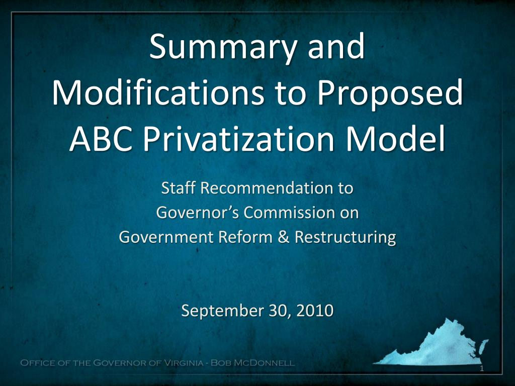 summary and modifications to proposed abc privatization model l.