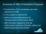 summary of abc privatization proposal