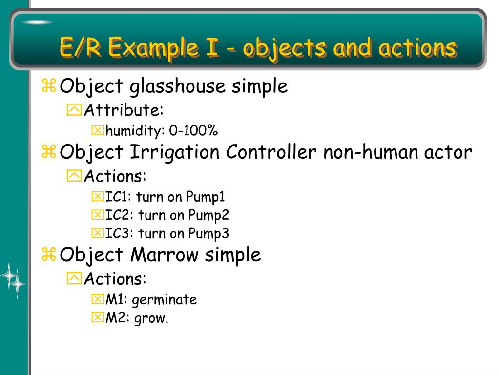 E/R Example I - objects and actions