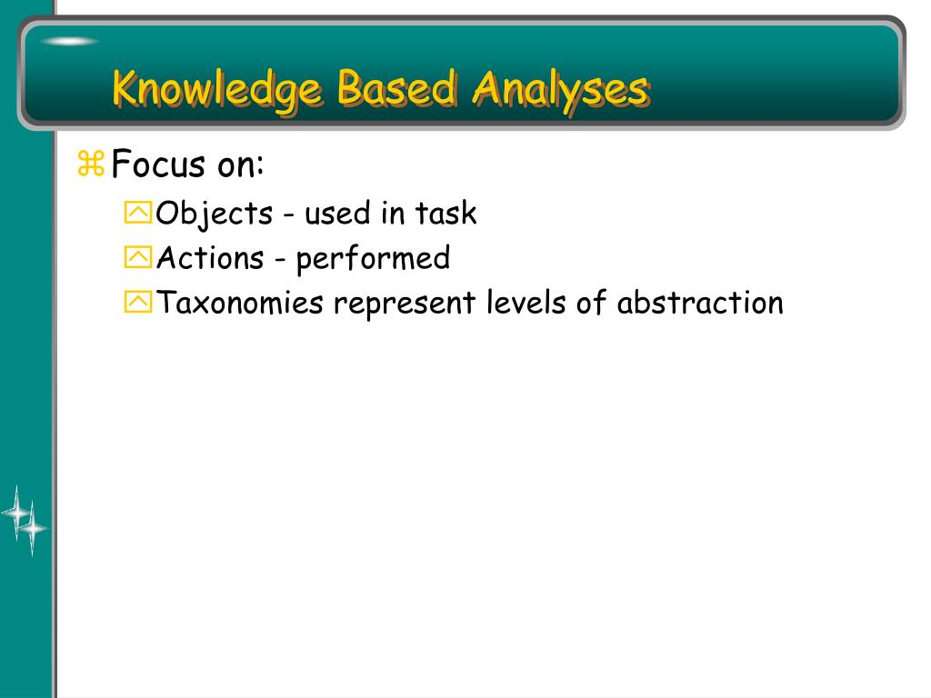 Knowledge Based Analyses