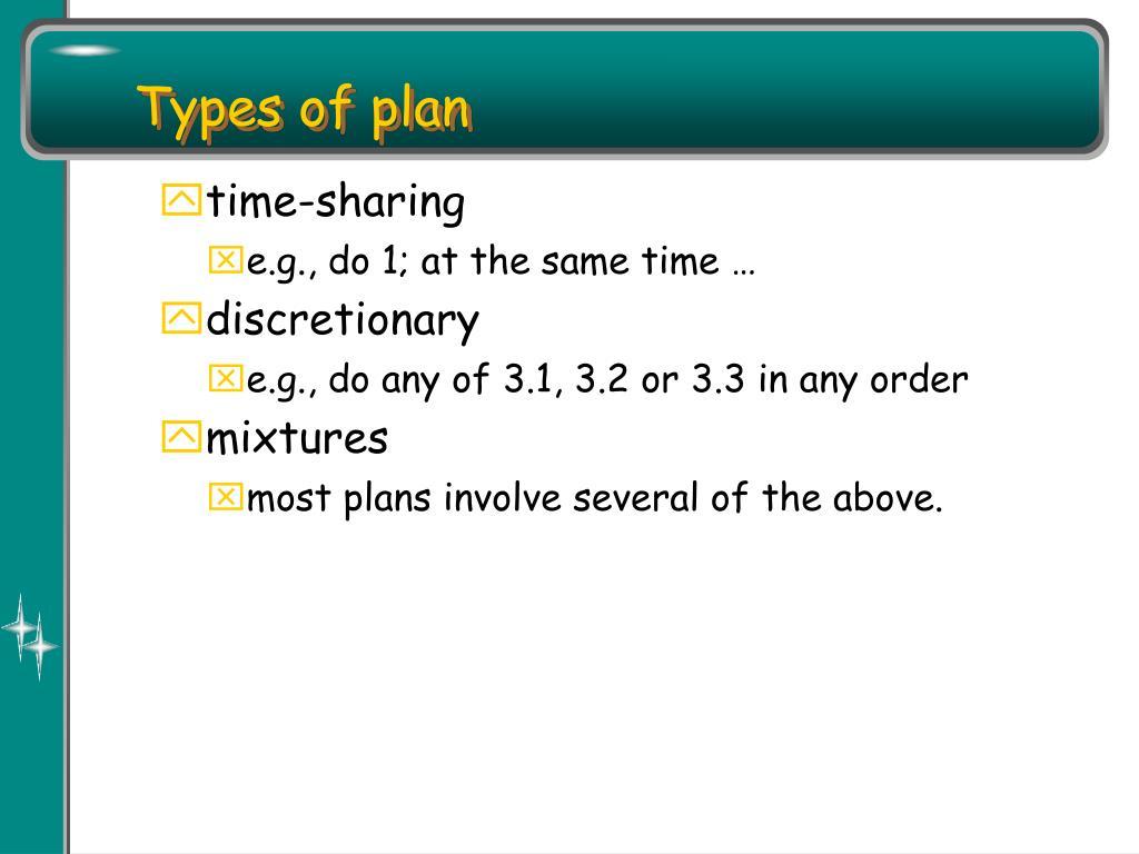 Types of plan
