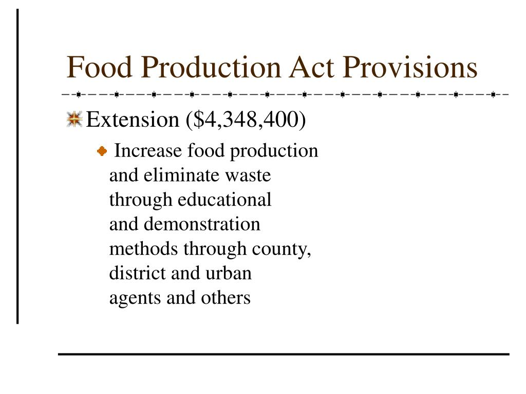 Food Production Act Provisions