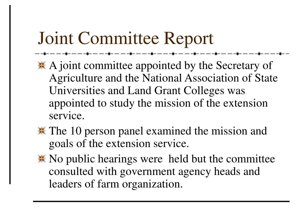 Joint Committee Report