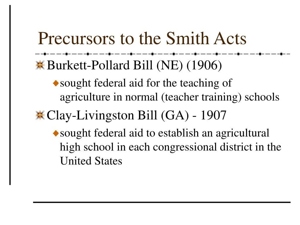 Precursors to the Smith Acts