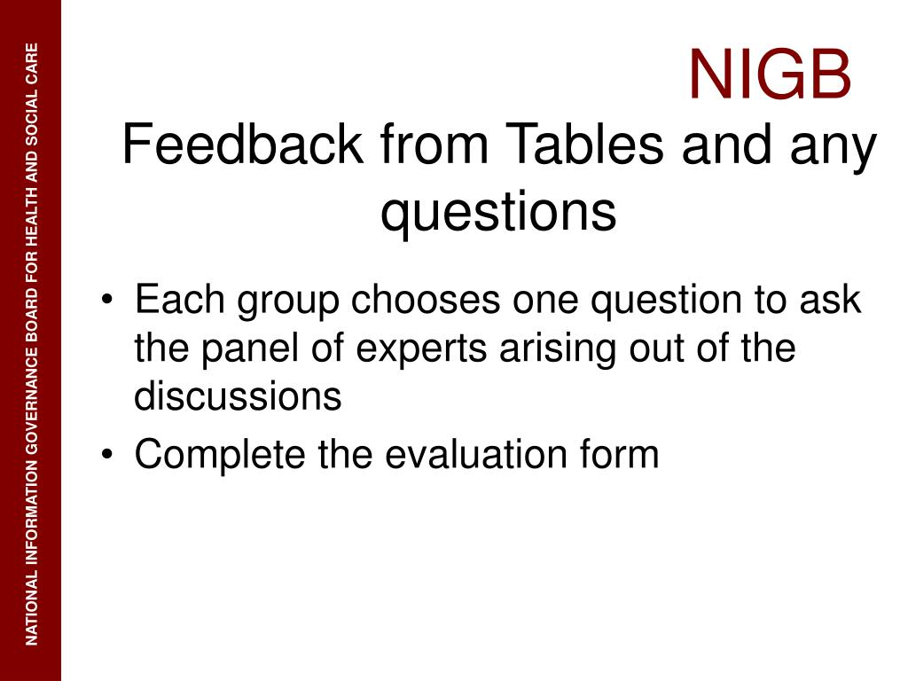 Each group chooses one question to ask the panel of experts arising out of the discussions
