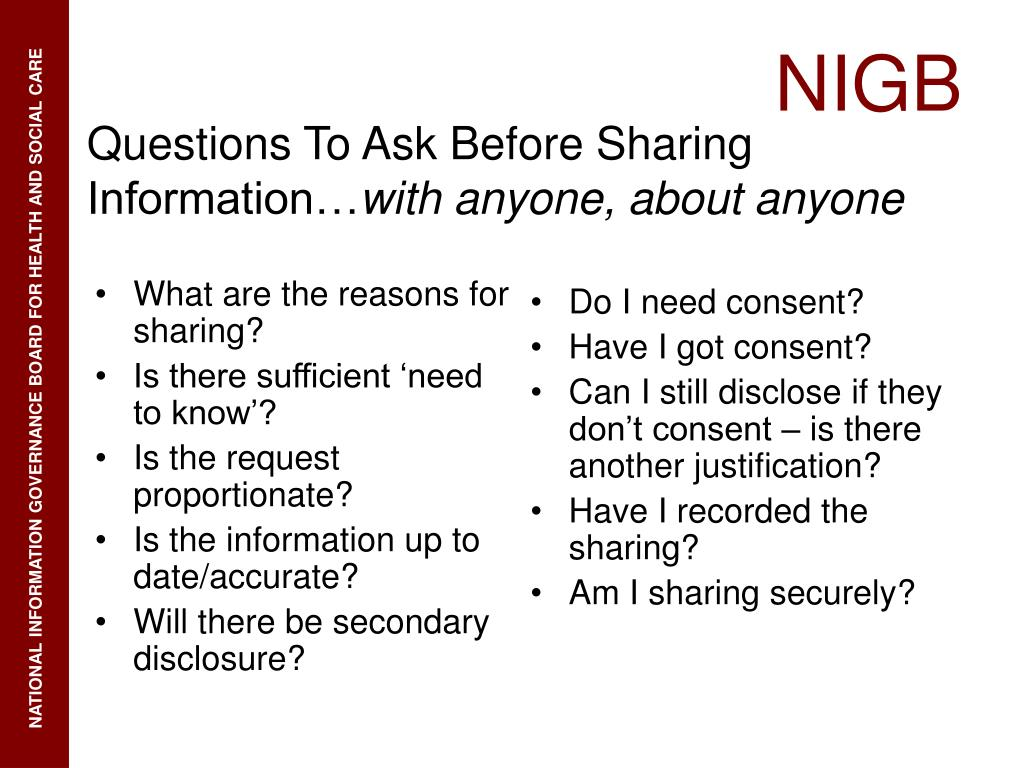 What are the reasons for sharing?