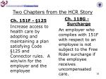two chapters from the hcr story