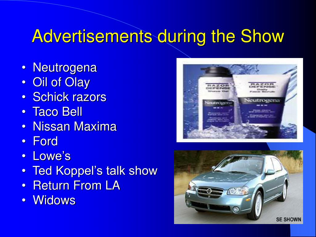Advertisements during the Show