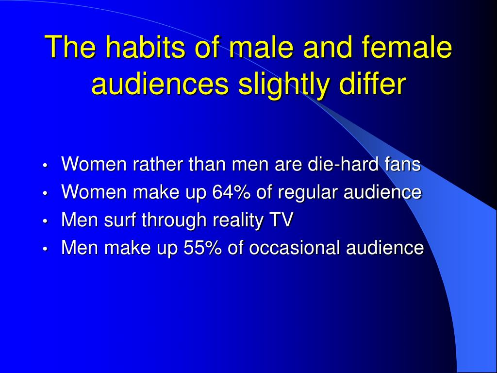 The habits of male and female audiences slightly differ
