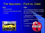 the sponsors ford vs coke