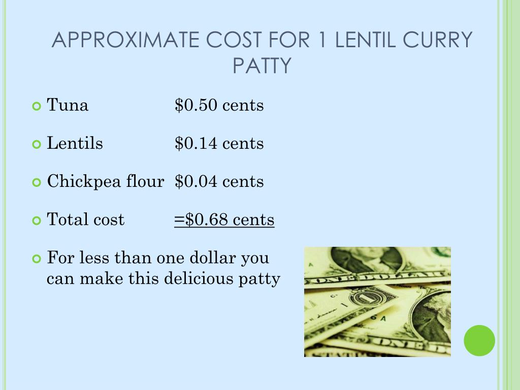 APPROXIMATE COST FOR 1 LENTIL CURRY PATTY
