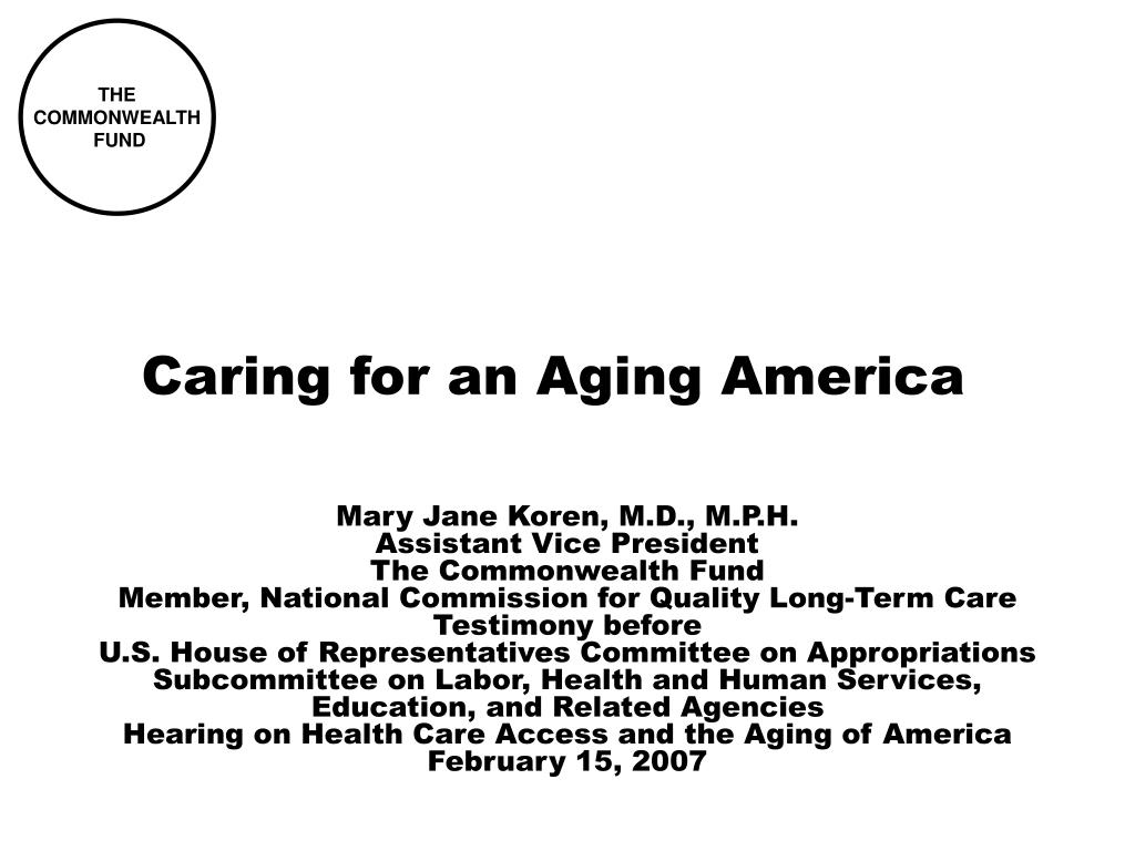caring for an aging america l.