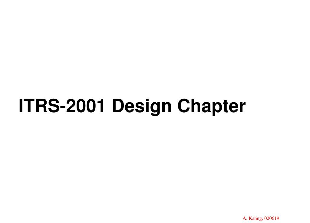 ITRS-2001 Design Chapter
