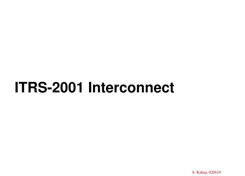 ITRS-2001 Interconnect