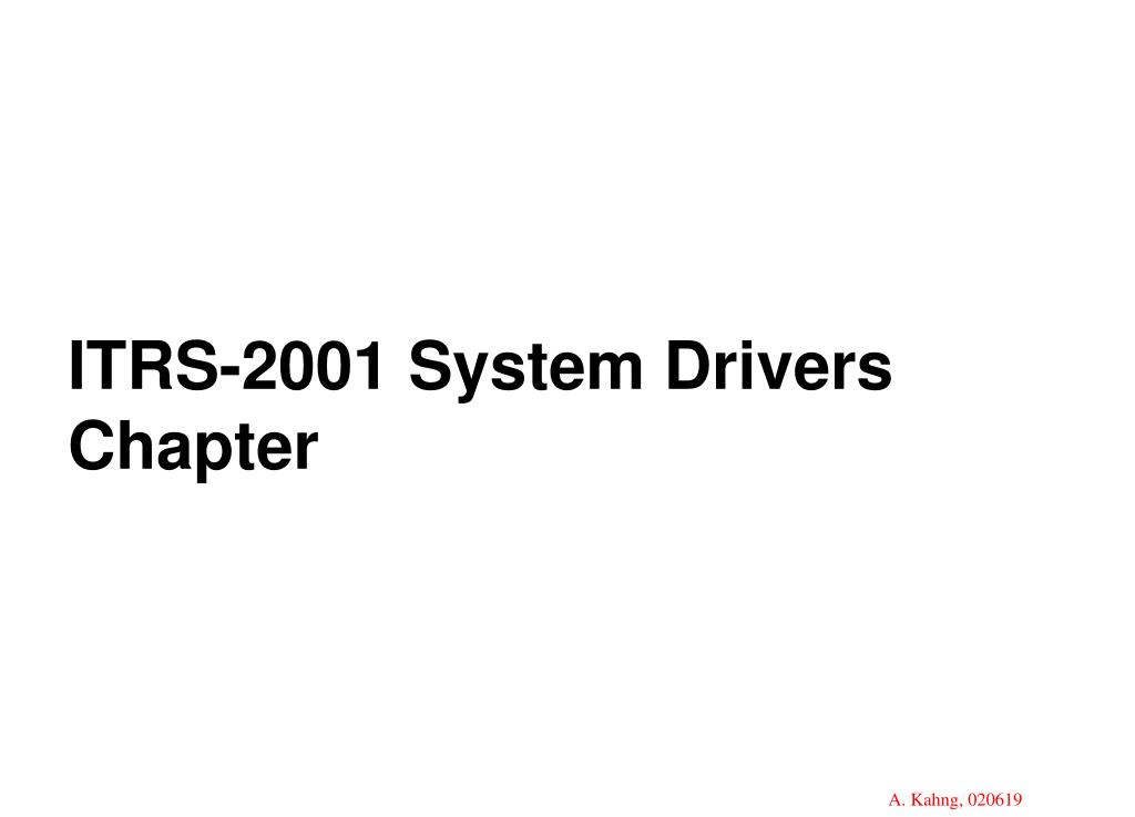 ITRS-2001 System Drivers Chapter